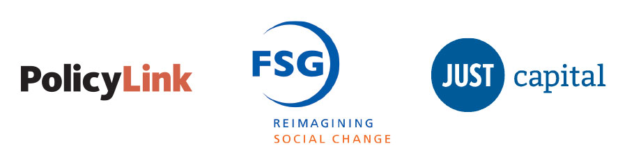 Policylink, JUST Capital, and FSG logos