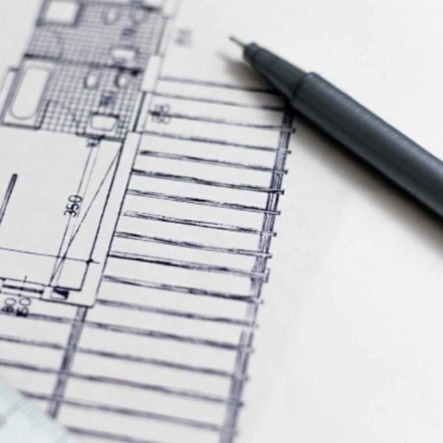 photo, architectural blueprint