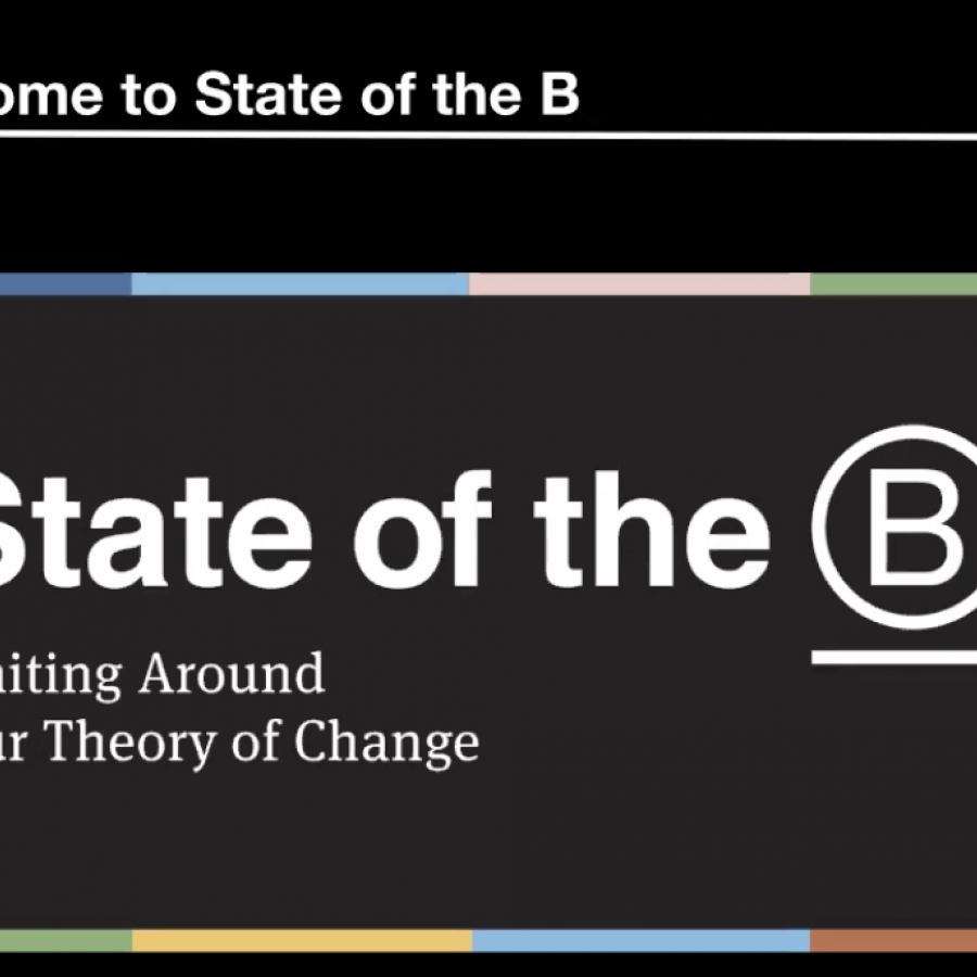 graphic w/ text: State of the B, Theory of Change