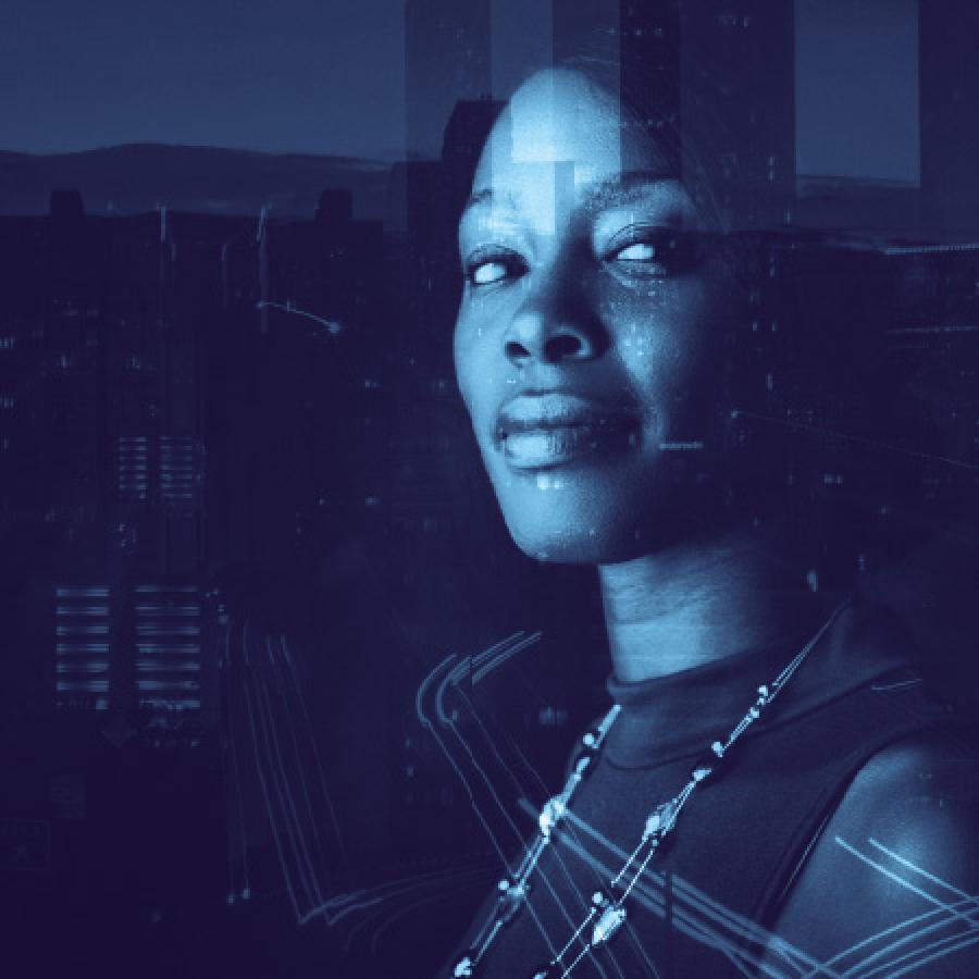 double exposure image, Black woman in corporation